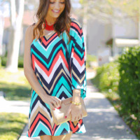 One Shoulder Chevron Print Dress | HGD51