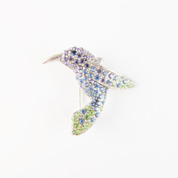 Monet Vintage Hummingbird Brooch with Colorful Rhinetsones