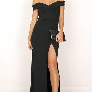 Sweetheart Black Gown with Side Split