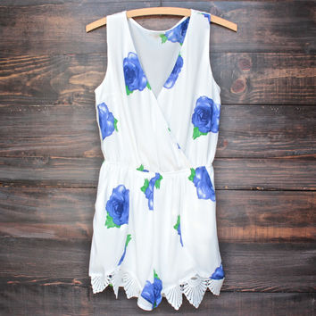 a wonderful thing floral romper - blue