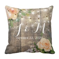 Rustic Wood Floral String Lights Wedding Shower Throw Pillow