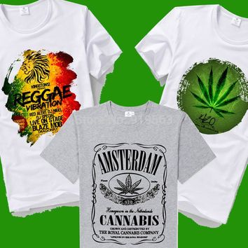 420 Amsterdam cannabis graphic logo leaf bob marley TEE SHIRT 22 patterns to choose