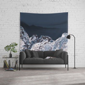 BLUE MARBLED MOUNTAINS Wall Tapestry by piaschneider
