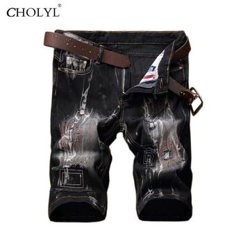 2017 Short Jeans Men New Classic Straight Summer Fashion Thin White Short Men's Distressed Summer Pants Trouser Shorts