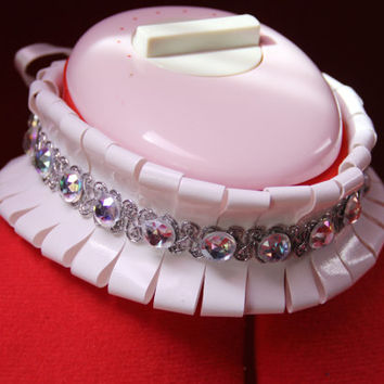 Made to Order Adjustable Sliced White PVC Choker Collar with Silver Trim and AB Jewels and Ribbon Ties