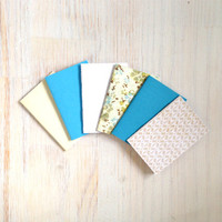 Notebooks: Tiny Journal Set of 6, Blue, Floral, Wedding, Favors, Stocking Stuffer, For Her, For Him, Gift, Unique, Mini Journals, Kids, T040