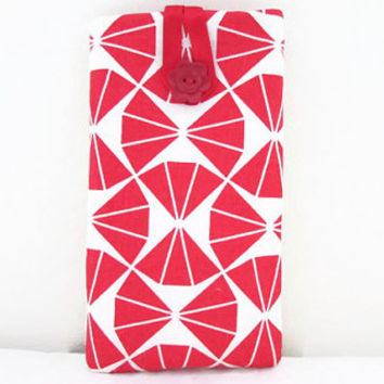 Iphone 6 plus case , red geometric triangle hand printed fabric , cell phone sleeve large 6 inch phablet case Sony Xperia Z ultra, Uk seller