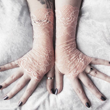 Kytha Lace Fingerless Gloves | Pale Blush Peach Pink Floral Embroidered | Bridesmaid Bridal Wedding Gothic Regency Goth Austen Fetish