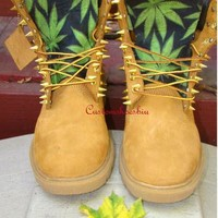 Custom Spiked Timberland Green Cannabis Leaves Timberland Boots