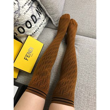 FENDI FF Khaki Long Socks