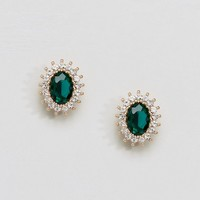 River Island Large Emerald Stud Earrings at asos.com