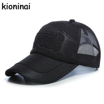 Trendy Winter Jacket Sport Quick-drying Snapback Golf Mesh Cap 5 Colors Outdoor Shade Hat Long Visor Baseball Cap Bone Gorras Casquette Adjustable AT_92_12