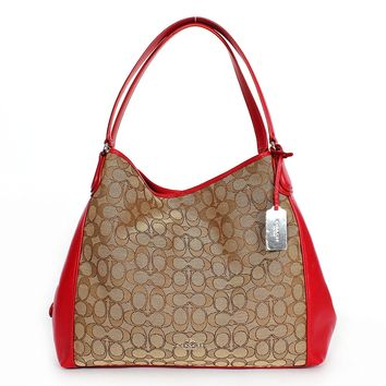 COACH SIGNATURE EDIE SHOULDER BAG, F33523, KHAKI/TRUE RED