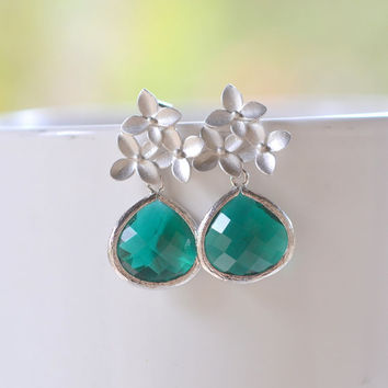 Emerald Green Teardrop and Silver Cherry Blossom Flower Post Earrings. Bridesmaid Earrings. Drop Earrings. Fashion Earrings. Free Shipping.