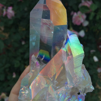 Lemurian Angel Aura Quartz Crystal,Empath Crystal Magick, Healing, Divination, Metaphysical, Free Shipping LEMA006