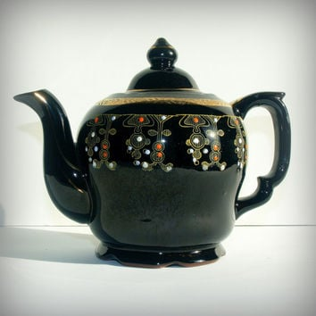VINTAGE BOHEMIAN TEAPOT - Mid Century Beautiful Tea Pot - Boho Chic Serving - Japanese Redware - Black, Gold, and Red Ornate - Tea Party
