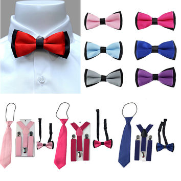 3PCS Children Boys Toddlers Kids Suspenders Adjustable Y-Back Braces Butterfly Bowtie Wedding Party Ties 1-8 Year YHHtr0009