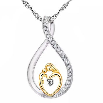 Moms Jewelry Birthday Gift For Mother Baby Heart Charm Pendant Mom Daughter Son Child Love Mosaic Cubic Zircon Chain Necklaces
