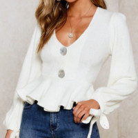 New hot - selling deep - V button cuff bow knit