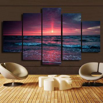 Sunrise At Sea 5 Panels Wall Art Canvas Giclee - FREE SHIPPING