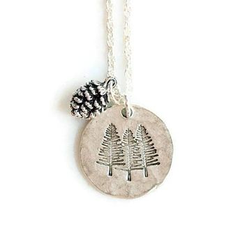 Silver Pine Tree Necklace