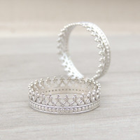 TWO Princess Crown Sterling Silver Rings // Double pack // Romantic Silver Ring // made to order