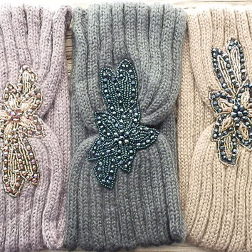 SALE: Chunky Knitted Headband Ear Warmer Beaded Flower Embellishment beaded head warmer Head Wrap Turban