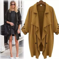 Long-Sleeve Asymmetrical Knitted Trench Coat