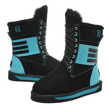 ESBON UGG 5088 Tall Lace-Up Piano Women Fashion Casual Wool Winter Snow Boots Black-Blue
