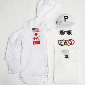 HOLIDAY BUNDLE I: Four-Flag Worldwide Hooded Coach Jacket - White Set