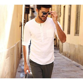 New Arrival Men Shirt Three Quarter Casual Solid Slim Fit Plus Size