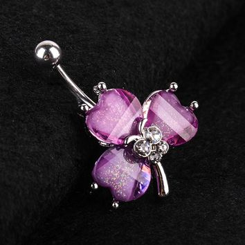 316L Surgical Steel Navel Belly Button Ring Bar Rhinestone Purple Clover/Dream Catcher/Butterfly/Flower Body Piercing Jewelry