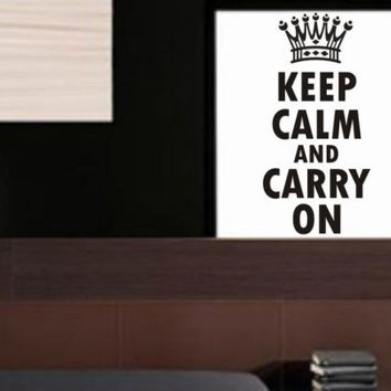 Keep Calm And Carry On Decal Sticker Wall quote crown modern beautiful nice children teen boy girl