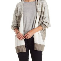 Triangle Print Open Front Marled Cardigan