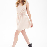 FOREVER 21 Faux Pearl Chiffon Dress Blush