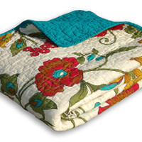 Ocean Teal Flower Modern Quilted Throw