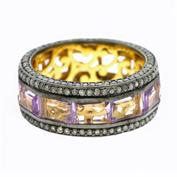 5.25ct Rectangular Amethyst with Pavé Diamonds Eternity Band Ring