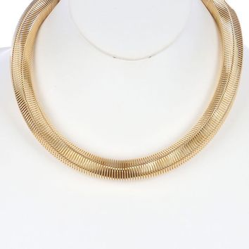 Gold Six Side Coil Wire Spring Bib Necklace