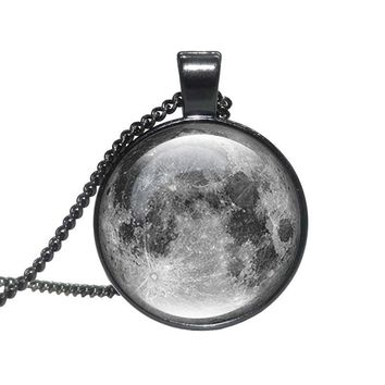 Handcrafted Galaxy Gray Moon Pendant Necklaces for Women