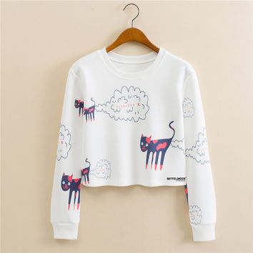Round-neck Pullover Alphabet Print Long Sleeve Stylish Hoodies [9101513287]