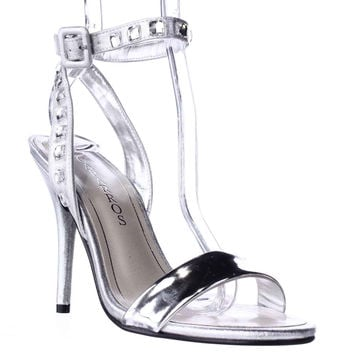 Caparros Cassidy Jeweled Ankle Strap Dres Sandals, Silver Metallic, 8 US