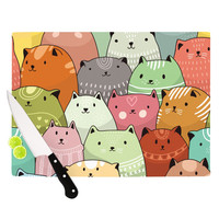 "Snap Studio ""Kitty Attack"" Cat Illustration Cutting Board"