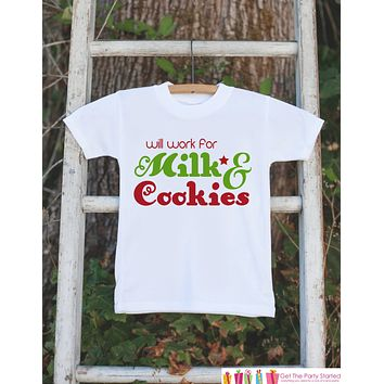 Funny Kids Christmas Outfit - Will Work for Milk & Cookies Onepiece or Tshirt - Christmas Shirt for Baby Boy or Baby Girl - Christmas Outfit