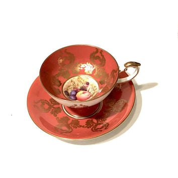 Aynsley Fruit Orchard Tea Cup, Burnt Orange Ornate Gilt Decoration, Signed D. Jones, English Bone China, Vintage Tea Cup, Gift For Her