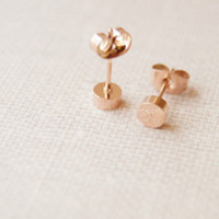 Rose gold earrings,dull polish rose gold round earring stud,simple earrings