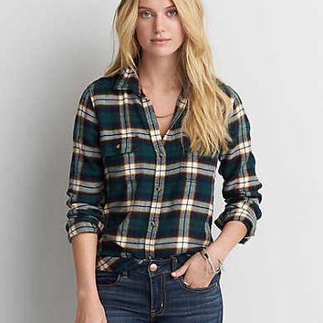 AEO Ahh-mazingly Soft Flannel Shirt Jacket, Green