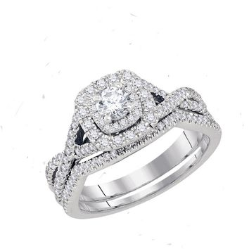 14kt White Gold Womens Round Diamond Twist Bridal Wedding Engagement Ring Band Set 3/4 Cttw (Certified)