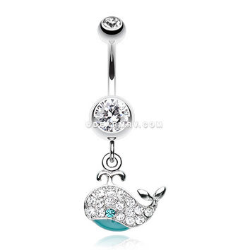 Adorable Whale Multi-Gem Belly Button Ring (Clear)