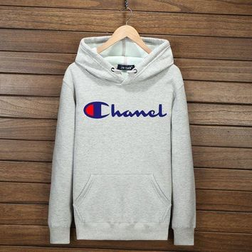 PEAPV9O Champion Fashion Print Cotton Long Sleeve Sweater Pullover Hoodie Sweatshirt Grey G-YSSA-Z
