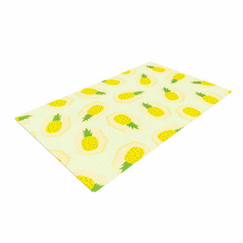 "Strawberringo ""Pineapple Pattern"" Yellow Fruit Woven Area Rug"